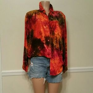 Vintage Crushed Tie Dye Velvet Top